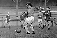 Alan Frazer, footballer, Linfield FC, Belfast, N Ireland, action, April, 1973, 197304000239<br /> <br /> Copyright Image from Victor Patterson, 54 Dorchester Park, <br /> Belfast, UK, BT9 6RJ<br /> <br /> t1: +44 28 9066 1296 (from Rep of Ireland 048 9066 1296)<br /> t2: +44 28 9002 2446 (from Rep of Ireland 048 9002 2446)<br /> m: +44 7802 353836<br /> <br /> e1: victorpatterson@me.com<br /> e2: victorpatterson@gmail.com<br /> www.victorpatterson.com<br /> <br /> Please see my Terms and Conditions of Use at www.victorpatterson.com. It is IMPORTANT that you familiarise yourself with them.<br /> <br /> Images used on the Internet must be visibly watermarked i.e. © Victor Patterson<br /> within the body of the image and copyright metadata must not be deleted. Images <br /> used on the Internet have a size restriction of 4kbs and will be chargeable at current<br />  NUJ rates unless agreed otherwise.<br /> <br /> This image is only available for the use of the download recipient i.e. television station, newspaper, magazine, book publisher, etc, and must not be passed on to any third <br /> party. It is also downloaded on condition that each and every usage is notified within 7 days to victorpatterson@me.com<br /> <br /> The right of Victor Patterson to be identified as the author is asserted in accordance with The Copyright Designs And Patents Act (1988). All moral rights are asserted.