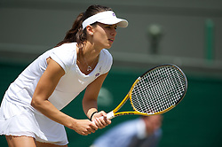 LONDON, ENGLAND - Tuesday, June 29, 2010: Tsvetana Pironkova (BUL) during the Ladies' Singles Quarter-Final match on day eight of the Wimbledon Lawn Tennis Championships at the All England Lawn Tennis and Croquet Club. (Pic by David Rawcliffe/Propaganda)