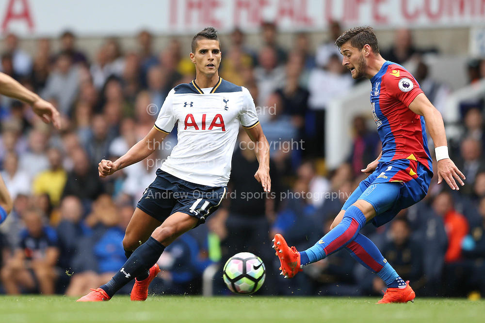 Erik Lamela of Tottenham Hotspur (l) passes the ball. Premier league match, Tottenham Hotspur v Crystal Palace at White Hart Lane in London on Saturday 20th August 2016.<br /> pic by John Patrick Fletcher, Andrew Orchard sports photography.
