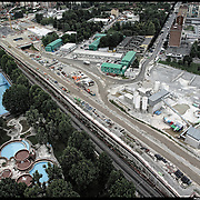 Nella foto:  Spina 4 cantieri alta velocità piscina Sempione Reportage fotografico aereo di bassa quota per l'importante progetto di trasformazione urbana Variante n. 200 al P.R.G. inerente la Linea 2 Metropolitana e Quadrante Nord-Est di Torino: Barriera di Milano, Rebaudengo, Falchera, Regio Parco, Barca e Bertolla.