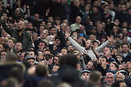 West Ham fans taunt the Tottenham fans. EFL Carabao Cup, 4th round match, Tottenham Hotspur v West Ham United at Wembley Stadium in London on Wdnesday 25th October 2017.<br /> pic by Steffan Bowen, Andrew Orchard sports photography.