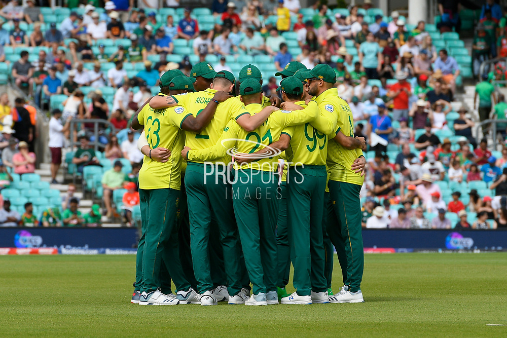 The South Africa team huddle together ahead of the ICC Cricket World Cup 2019 match between South Africa and Bangladesh at the Oval, London, United Kingdom on 2 June 2019.