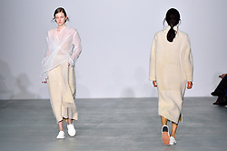 © Licensed to London News Pictures. 20/02/2016. Models on the catwalk at the 1205 Autumn/Winter 2016 show. Models, buyers, celebrities and the stylish descend upon London Fashion Week for the Autumn/Winters 2016 clothes collection shows. London, UK. Photo credit: Ray Tang/LNP