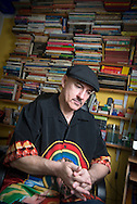 """Writer Jim McCarthy, whose latest """"graphic biography"""" tells the story of the Ramones. Photographed at his home and office in Bexhill-on-Sea, East Sussex, Britain."""