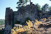 Wall of Lycian city of Pinara, Turkey