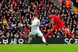 Roberto Firmino of Liverpool fires a shot at goal  - Mandatory by-line: Matt McNulty/JMP - 21/01/2017 - FOOTBALL - Anfield - Liverpool, England - Liverpool v Swansea City - Premier League