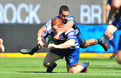 Cape Town-180317 Stephen Kitshoff  of the DHL Stomers tackled by Sam Nock of Blues in the Super Rugby tournament  at Newlands rugby stadium.Photograph:Phando Jikelo/African News Agency/ANA