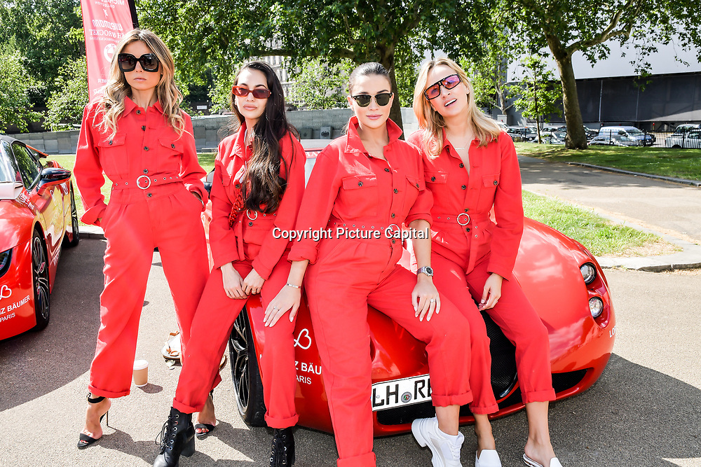 Amy Jackson, Zara Martin, Carmen Jorda attend Cash & Rocket Photocall at Wellington Arch, on 6 June 2019, London, UK