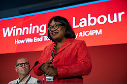 © Licensed to London News Pictures. 23/09/2018. Liverpool, UK. Shadow Home Secretary Diane Abbott speaks at a fringe event at the Labour Party Conference. Photo credit: Rob Pinney/LNP