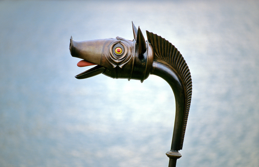 Reconstruction of Celtic Iron Age carnyx found at Deskford, Aberdeenshire, Scotland. Boars head mouth of the bronze war trumpet