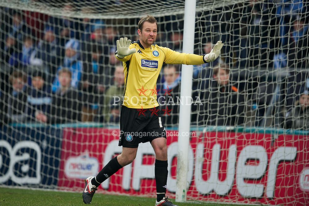 WYCOMBE, ENGLAND - Saturday, February 4, 2012: Wycombe Wanderers' goalkeeper Nikki Bull in action against Tranmere Rovers during the Football League One match at Adams Park. (Pic by David Rawcliffe/Propaganda)
