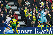 Lewis Dunk (Capt) (Brighton) & Maximillian Aarons (Norwich)  look on as Tim Krul (GK) (Norwich) saves the ball during the Premier League match between Brighton and Hove Albion and Norwich City at the American Express Community Stadium, Brighton and Hove, England on 2 November 2019.