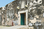 MACAU, CHINA - SEPTEMBER 11, 2013: Exterior wall and entrance to the Guia Fortress in Macau, China.