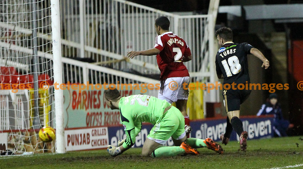 TELEPHOTO IMAGES / 07967642437<br /> Crawley&rsquo;s Matt Tubbs scores during the Sky Bet division one match between Swindon Town and Crawley Town at the County Ground in Swindon. February 25 2014
