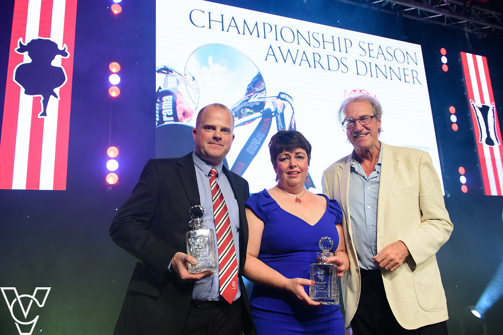 Lincoln City Football Club's 2016/17 End of Season Awards night - Championship Seasons Awards Dinner - held at the Lincolnshire Showground.<br /> <br /> LONG SERVICE AWARDS: Lincoln City chairman Bob Dorrian, right, presents long service awards to John Vickers, left, and Dawn Cussens<br /> <br /> Picture: Chris Vaughan Photography for Lincoln City Football Club<br /> Date: May 20, 2017
