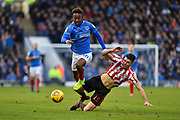 Portsmouth Midfielder, Jamal Lowe (10) skips past Sunderland Defender, Jack Baldwin (15) during the EFL Sky Bet League 1 match between Portsmouth and Sunderland at Fratton Park, Portsmouth, England on 22 December 2018.
