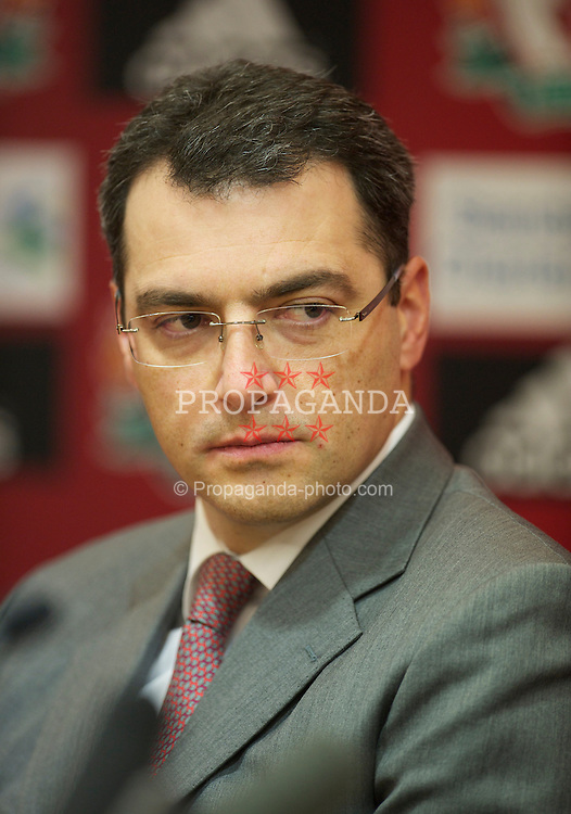 LIVERPOOL, ENGLAND - Monday, January 10, 2011: Liverpool's Director of Football Strategy Damien Comolli pictured during a press conference to official announce Kenny Dalglish's appointment as manager at Anfield. (Pic by: David Rawcliffe/Propaganda)