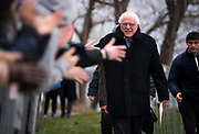 Democratic 2020 presidential candidate Bernie Sanders shakes hands before taking the stage during a rally at James Madison Park in Madison, WI on Friday, April 12, 2019.