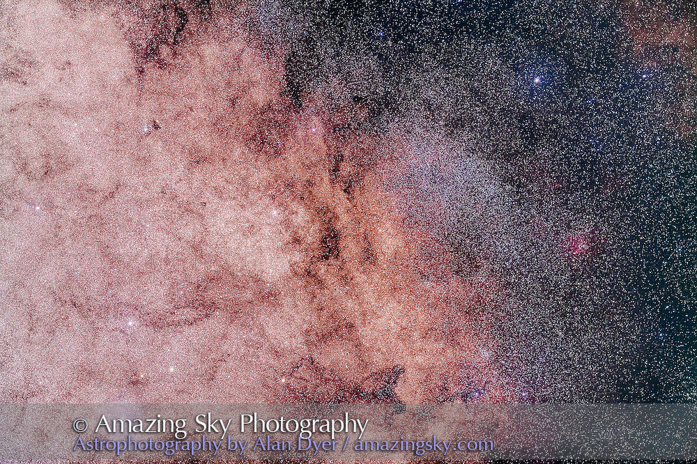 The area around the centre of the Galaxy in Sagittarius, with the direction of the galactic centre at right just above the small red emission nebula, Sharpless 2-16, in the dark dust lane of the Milky Way. At left is the rich Sagittarius Starcloud with the small open cluster NGC 6520 at top next to the small dark nebula Barnard 86. The small globular clusters, NGC 6522 and 6528, looking like stars here, are just above gamma Sagittarii at lower left.<br /> <br /> This is a stack of 5 x 5 minute exposures with the Borg 77mm f/4 astrograph and filter-modified Canon 5D MkII at ISO 1600, taken from Tibuc Cottage near Coonabarabran, NSW, Australia.