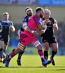 Lachlan McCaffrey of London Welsh is tackled by Don Armand of Exeter Chiefs - Photo mandatory by-line: Patrick Khachfe/JMP - Mobile: 07966 386802 07/03/2015 - SPORT - RUGBY UNION - Exeter - Sandy Park - Exeter Chiefs v London Welsh - Aviva Premiership