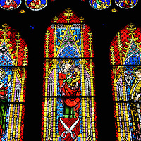 Freiburg Minster Stained Glass Window in Freiburg im Breisgau, Germany <br />