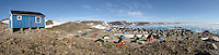 Panorama of colorful homes in Ittoqqortoormiit, in Scoresbysund on Greenland's southeast coast.