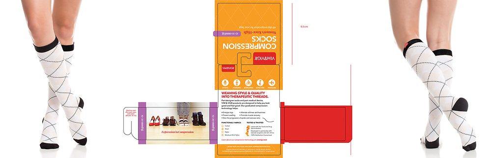 Woman's compression socks :: packaging and product shots.<br /> Graphic Design :: Jenco Creative