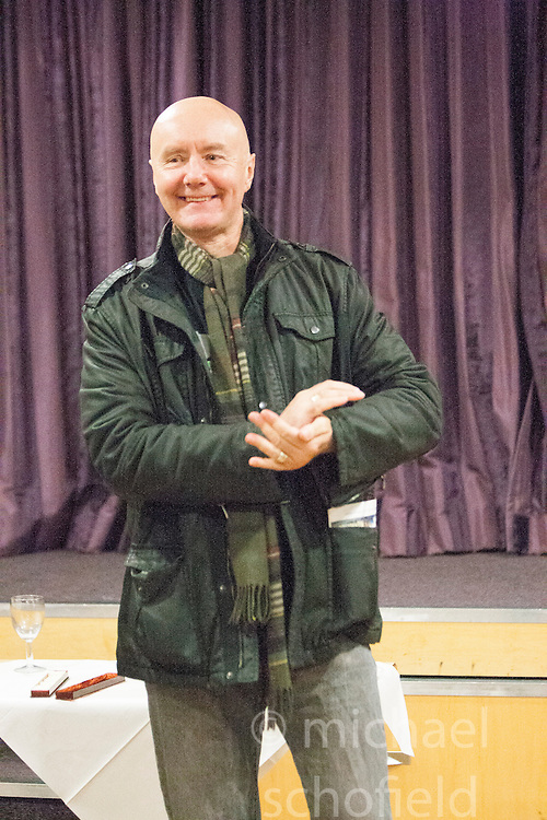 Irvine Welsh unveiling a 22 foot by 10 foot mural at Leith Dockers Club.<br /> &copy; Michael Schofield.