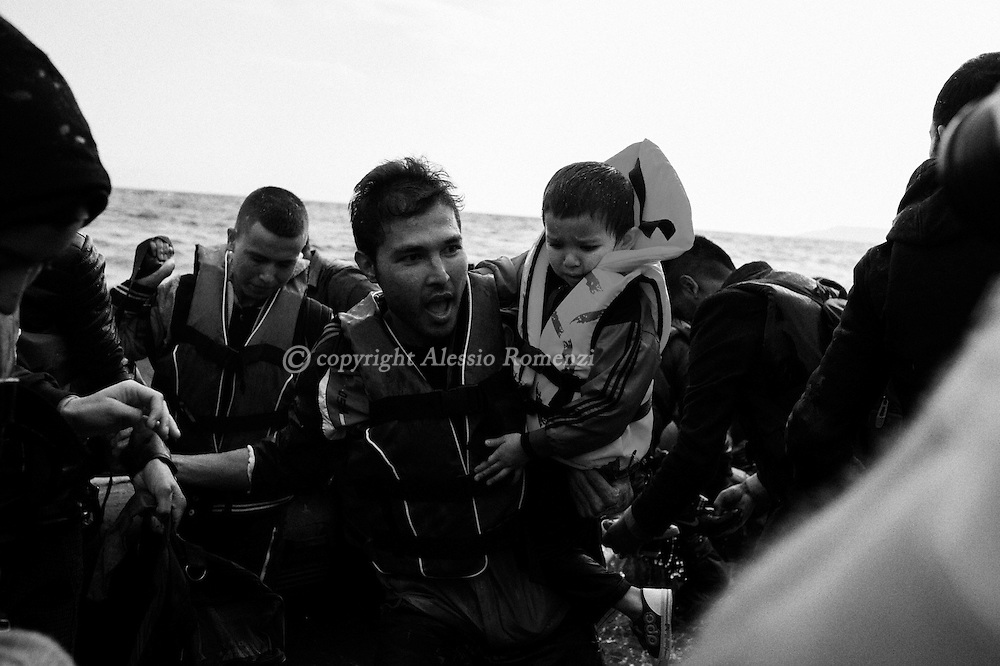 Greece, Lesbos: Syrian asylum seekers arrive on the shore of Lesbos Island. Alessio Romenzi