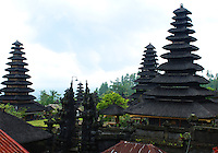 The buildings and tiered roofs of the Mother Temple in Bali, Indonesia.