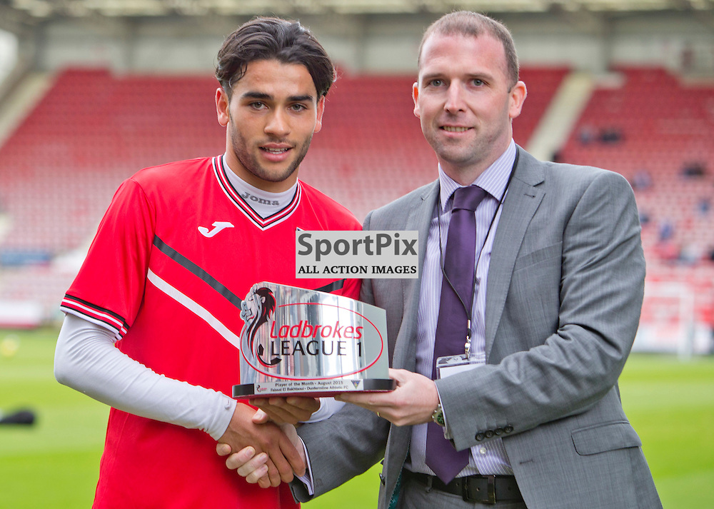 Faissal El Bakhtaoui SPFL League One Player of the Month 13 September 2015<br /> <br /> Faissal El Bakhtaoui is awarded the ladbrokes SPFL league one player of the month for August by Ladbrokes Media and Sponsorships David Macdonald prior to Dunfermline Athletic v Ayr United SPFL League One Season 2015/16 East End Park 12 September 2015 <br /> <br /> CRAIG BROWN | sportPix.org.uk
