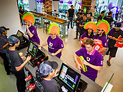24 JANUARY 2019 - BANGKOK, THAILAND:  Americans, wearing giant foam tacos, were the first customers to place orders at the first Taco Bell in Thailand, which opened Thursday. The restaurant has a 215 square meter space in the Mercury Ville, a mixed use retail/office building in central Bangkok. Taco Bell is owned by Yum Brands, which also owns KFC, Pizza Hut, and WingStreet. Taco Bell in Thailand joins KFC, which has more than 500 restaurants in Thailand and Pizza Hut, which recently started expanding in Thailand.     PHOTO BY JACK KURTZ