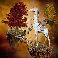 Colorful surreal image of a spotted giraffe on a floating piece of earth connected by hanging bridges to other floating pieces of earth with trees against a warm background of red, yellow and orange