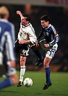 31.03..1999, Frankenstadion, N?rnberg, Germany. UEFA European Championship 2000 Qualifying match, Germany v Finland. .Lothar Matth?us (Germany) v Jari Litmanen (Finland).©JUHA TAMMINEN
