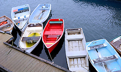 Row Boats on the Inner Harbor (Red and More), Rockport, Massachusetts