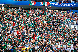 MOSCOW, RUSSIA - Sunday, June 17, 2018: Mexico supporters celebrate the winning goal during the FIFA World Cup Russia 2018 Group F match between Germany and Mexico at the Luzhniki Stadium. Mexico won 1-0. (Pic by David Rawcliffe/Propaganda)