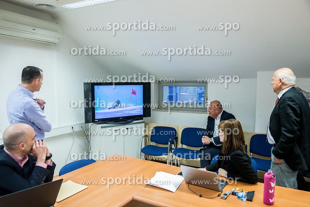 Jozko Krizan, Enzo Smrekar, Iztok Klancnik react when watching Ilka Stuhec winning in Aspen during meeting of Executive Committee of Ski Association of Slovenia (SZS), on March 15, 2017 in SZS, Ljubljana, Slovenia. Photo by Vid Ponikvar / Sportida