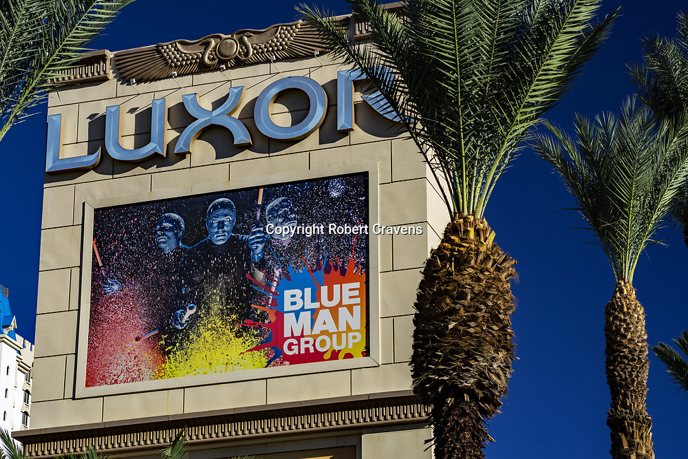 Entrance sign Luxor Hotel Casino located on the Las Vegas Strip. Blue Man  Group performs