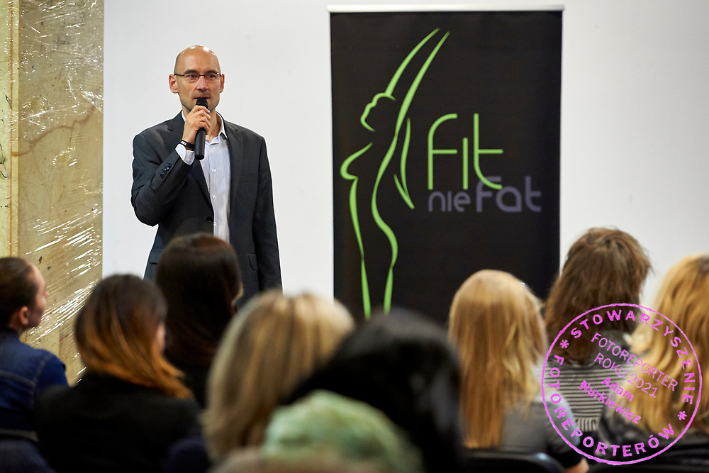 """Warsaw, Poland - 2017 April 07: Sebastian Goszcz blogger """"Espresso fitness business solutions"""" speaks during The Day of Health - science conference in the National Library on April 07, 2017 in Warsaw, Poland.<br /> <br /> Mandatory credit:<br /> Photo by © © Adam Nurkiewicz / Mediasport / Mediasport<br /> <br /> Picture also available in RAW (NEF) or TIFF format on special request.<br /> <br /> Any editorial, commercial or promotional use requires written permission from the author of image.<br /> <br /> Adam Nurkiewicz declares that he has no rights to the image of people at the photographs of his authorship."""