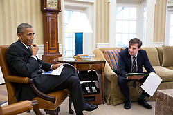 President Barack Obama meets with Chase Cushman, Director of Scheduling and Advance in the Oval Office, March 27, 2015. (Official White House Photo by Pete Souza)<br /> <br /> This official White House photograph is being made available only for publication by news organizations and/or for personal use printing by the subject(s) of the photograph. The photograph may not be manipulated in any way and may not be used in commercial or political materials, advertisements, emails, products, promotions that in any way suggests approval or endorsement of the President, the First Family, or the White House.