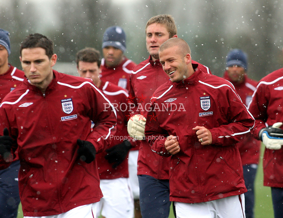 LONDON, ENGLAND - Monday, March 24, 2008: England's David Beckham during training at London Colney ahead of the International Friendly match against France. (Pic by Chris Ratcliffe/Propaganda)