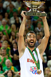 Juan Carlos Navarro of Spain celebrates at medal ceremony after the final basketball game between National basketball teams of Spain and France at FIBA Europe Eurobasket Lithuania 2011, on September 18, 2011, in Arena Zalgirio, Kaunas, Lithuania. Spain defeated France 98-85 and became European Champion 2011. (Photo by Vid Ponikvar / Sportida)