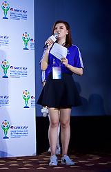 NANNING, CHINA - Saturday, March 24, 2018: A host during a meet & greet event at the Nanning Wanda Mall during the 2018 Gree China Cup International Football Championship. (Pic by David Rawcliffe/Propaganda)