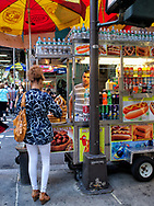 Hotdog stand along Fifth Avenue, New York City