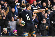 Sean Maitland scores winning try for Scotland and is congratulated by Jamie Ritchie  during the Autumn Test match between Scotland and Argentina at Murrayfield, Edinburgh, Scotland on 24 November 2018.
