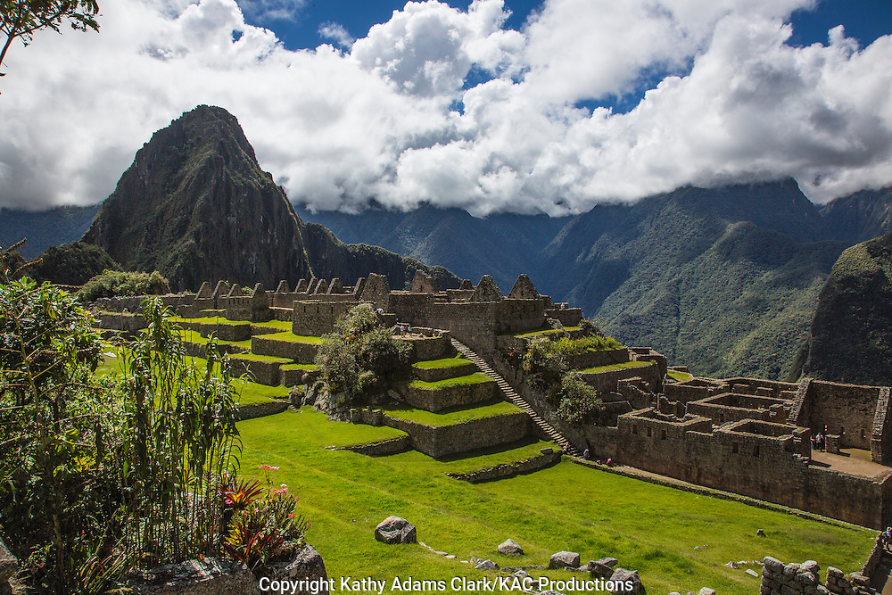 Machu Picchu, Lost City of the Incas, in the Andes Mountains, of Peru, looking towards Huayna Picchu.
