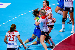 02-12-2019 JAP: Slovenia - Norway, Kumamoto<br /> Second day 24th IHF Womenís Handball World Championship, Slovenia lost the second match against Norway with 20 - 36. / Nina Zulic #18 of Slovenia, LØKEHeidi of Norway