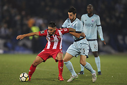 November 25, 2017 - Aves, Guimaraes, Portugal - Aves´s Player forward C. Arago (L) with Porto's Spanish defender Ivan Marcano (R) during the Premier League 2017/18 match between CD Aves vs FC Porto at the Aves stadium in Vila das Aves on November 25, 2017. (Credit Image: © Dpi/NurPhoto via ZUMA Press)