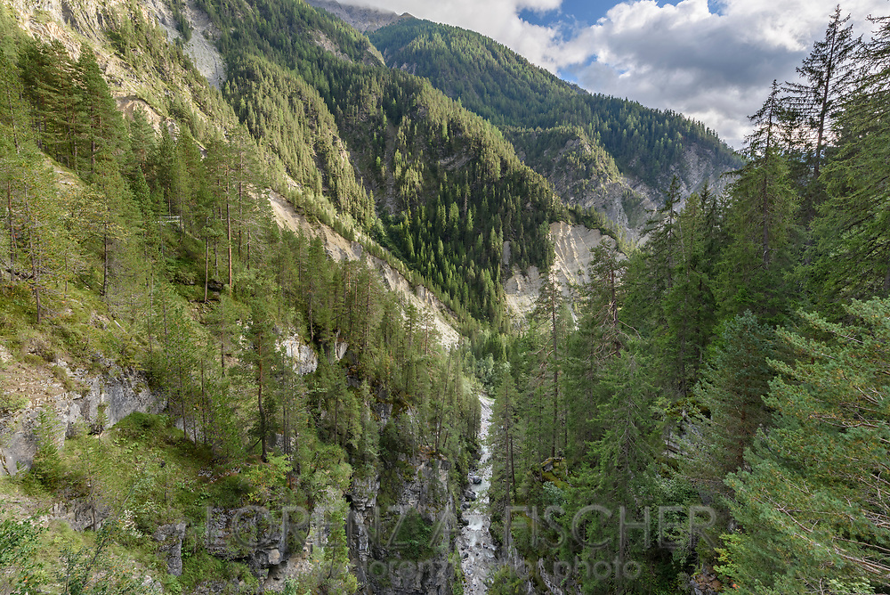 Coniferous woodland in the gorge Zügenschlucht of the river Landwasser close to Davos on a nice late summer evening in September with some clouds in the sky, Parc Ela, Grisons, Switzerland