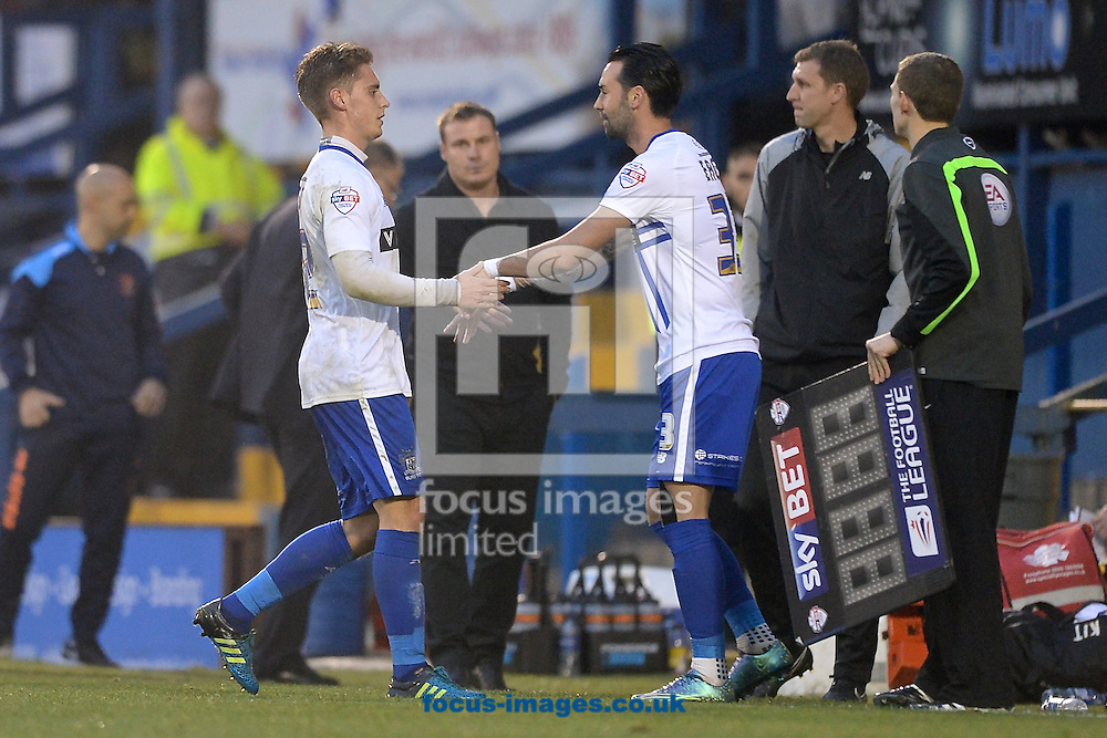 Danny Rose of Bury is replaced by Chris Eagles during the Sky Bet League 1 match at Gigg Lane, Bury<br /> Picture by Ian Wadkins/Focus Images Ltd +44 7877 568959<br /> 31/10/2015